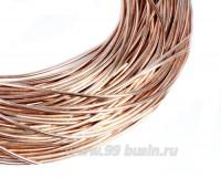 Канитель гладкая глянцевая 1 мм, цвет MD-07 розовое золото, пр-во Индия, упаковка 5 граммов (разные отрезки, общая длина около 2,6 метра) 058402 - 99 бусин