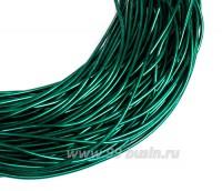 Канитель гладкая глянцевая 1 мм, цвет MD-16 изумрудный зелёный, пр-во Индия, упаковка 5 граммов (разные отрезки, общая длина около 2,6 метра) 058407 - 99 бусин