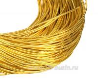 Канитель гладкая глянцевая 1 мм, цвет MD-04 желтое золото Индия, упаковка 5 граммов (разные отрезки, общая длина около 2,8 метров) 058453 - 99 бусин