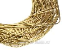 Канитель гладкая глянцевая 1 мм, цвет MD-06 золото Индия, упаковка 5 граммов (разные отрезки, общая длина около 2,8 метров) 058508 - 99 бусин