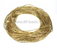Канитель ОПТ гладкая глянцевая 1 мм, цвет MD-06 золото Индия, упаковка 50 граммов (разные отрезки, общая длина около 28 метров) 058509 - 99 бусин