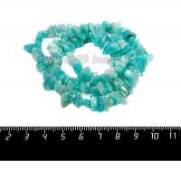 Натуральный камень АМАЗОНИТ крошка 5*3*4 - 10*4*6 мм, светло-бирюзовые яркие тона, 44 см/нить 058575 - 99 бусин