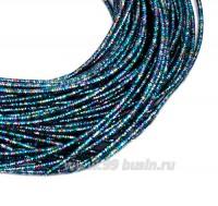 Канитель FANCY 1,5 мм гладкая упругая, цвет dark blue/purple multi (тёмный голубой/лиловый мультиколор) 5 граммов (около 2,0 метров) 058596 - 99 бусин
