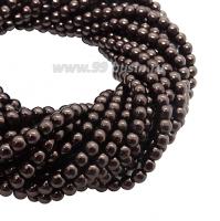 Бусина стеклянная жемчуг на нити 3 мм цвет шоколад Чехия 75 штук 058617 - 99 бусин
