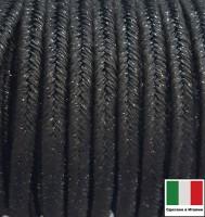 Сутаж премиум Италия 4 мм цвет Nero Metal (чёрный металлик) 1 метр 058700 - 99 бусин