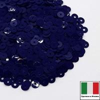 Пайетки 3 мм Италия плоские, цвет 5254 Blu Scuro Opaline 3 грамма (ок.1600 штук) 058708 - 99 бусин