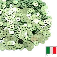 Пайетки 4 мм Италия плоские цвет 7021 Verde Metallizzati (Светло-зеленый металлик) 3 грамма (ок. 900 штук) 058732 - 99 бусин