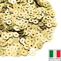 Пайетки 4 мм Италия плоские цвет 216W Giallo Sole Satinato (матовое жёлтое золото) 3 грамма (ок. 900 штук) 058735 - 99 бусин