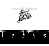 Коннектор Премиум Трилистник с кристаллами и розовыми цирконами 19*14 мм, родированный, 1 штука 058739 - 99 бусин