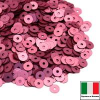 Пайетки 4 мм Италия плоские цвет 396W Rosa Scuro Satinato (Тёмная роза сатин) 3 грамма (ок. 900 штук) 058752 - 99 бусин