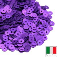 Пайетки 4 мм Италия плоские цвет 556W Viola Satinato (Фиолетовый сатин) 3 грамма (ок. 900 штук) 058755 - 99 бусин