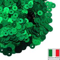 Пайетки 4 мм Италия плоские цвет 746W Smeraldo Satinato (Зелёный изумруд сатин) 3 грамма (ок. 900 штук) 058757 - 99 бусин