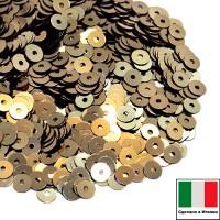 Пайетки 4 мм Италия плоские цвет 2071 Oro antico Metallizzato (античное золото металлик) 3 грамма (ок.900 штук) 058774 - 99 бусин