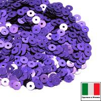 Пайетки 4 мм Италия плоские цвет 5161 Viola chiaro Metallizzati (Фиолетовый металлик) 3 грамма (ок. 900 штук) 058779 - 99 бусин
