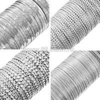 Бить рифлёная цвет серебро ассорти 4 вида по 3 метра, размер 1,5-2 мм в пластиковой баночке, Индия 058783 - 99 бусин