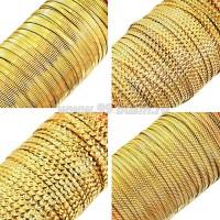 Бить рифлёная цвет золото ассорти 4 вида по 3 метра, размер 1,5-2 мм в пластиковой баночке, Индия 058784 - 99 бусин