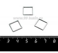 Коннектор нержавеющая сталь Квадрат 12*12*1 мм цвет стальной 1 штука 058811 - 99 бусин