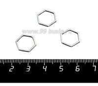 Коннектор нержавеющая сталь Соты 12*12*1 мм цвет стальной 1 штука 058815 - 99 бусин
