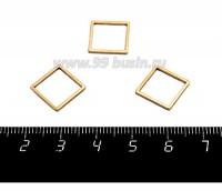 Коннектор нержавеющая сталь Квадрат 12*12*1 мм оксид титана цвет золото 1 штука 058817 - 99 бусин