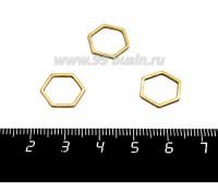 Коннектор нержавеющая сталь Соты 12*12*1 мм оксид титана, цвет золото 1 штука 058819 - 99 бусин