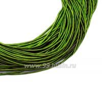 Канитель гладкая матовая 1 мм, цвет сочный зеленый MK-17, пр-во Индия, упаковка 5 граммов (разные отрезки, общая длина около 2,5 метров) 058831 - 99 бусин