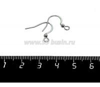 Швензы крючок нержавеющая сталь с шариком и плоской дужкой цвет стальной 1 пара 058842 - 99 бусин