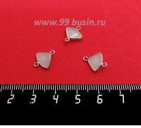 Коннектор Премиум Бриллиант мини 13*10 мм ювелирное стекло, белый полупрозрачный/платина 1 штука 058843 - 99 бусин