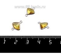Коннектор Премиум Бриллиант мини 13*10 мм ювелирное стекло, ситро/платина 1 штука 058844 - 99 бусин