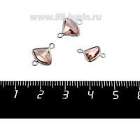 Коннектор Премиум Бриллиант мини 13*10 мм ювелирное стекло, чайная роза/платина 1 штука 058845 - 99 бусин