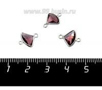 Коннектор Премиум Бриллиант мини 13*10 мм ювелирное стекло, аметист/платина 1 штука 058847 - 99 бусин