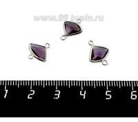 Коннектор Премиум Бриллиант мини 13*10 мм ювелирное стекло, фиолетовый/платина 1 штука 058848 - 99 бусин
