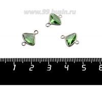 Коннектор Премиум Бриллиант мини 13*10 мм ювелирное стекло, яблочный зеленый/платина 1 штука 058849 - 99 бусин