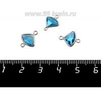 Коннектор Премиум Бриллиант мини 13*10 мм ювелирное стекло, морская волна/платина 1 штука 058850 - 99 бусин