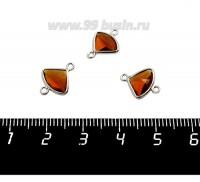 Коннектор Премиум Бриллиант мини 13*10 мм ювелирное стекло, коньячный/платина 1 штука 058852 - 99 бусин