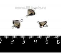 Коннектор Премиум Бриллиант мини 13*10 мм ювелирное стекло, дымчато-коричневый/платина 1 штука 058853 - 99 бусин