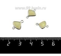 Коннектор Премиум Бриллиант мини 13*10 мм ювелирное стекло, светло-песочный полупрозрачный/платина 1 штука 058854 - 99 бусин