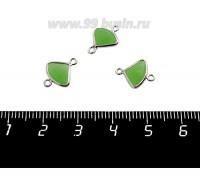 Коннектор Премиум Бриллиант мини 13*10 мм ювелирное стекло, зеленый полупрозрачный/платина 1 штука 058855 - 99 бусин
