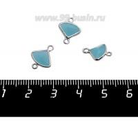 Коннектор Премиум Бриллиант мини 13*10 мм ювелирное стекло, голубой полупрозрачный/платина 1 штука 058856 - 99 бусин