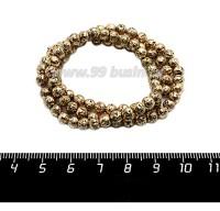 Натуральный камень ЛАВА вулканическая Гальванизированная, бусина круглая 5 мм, цвет античное золото, около 90 бусин/нить 058862 - 99 бусин