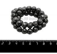 Натуральный камень ЛАВА вулканическая Гальванизированная, бусина круглая 9 мм, цвет черный никель, около 45 бусин/нить 058872 - 99 бусин