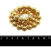 Натуральный камень ЛАВА вулканическая Гальванизированная, бусина круглая 11 мм, цвет золото, около 38 бусин/нить 058879 - 99 бусин