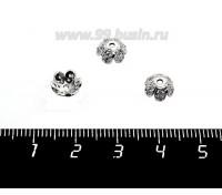 Шапочка для бусин Премиум Цветочек с микроцирконами 8*3 мм, родий 1 штука 058889 - 99 бусин