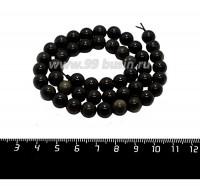 Натуральный камень ОБСИДИАН ЗОЛОТИСТЫЙ круглая 8 мм, черные с оливково-золотистым отливом тона, около 38 см/нить 058924 - 99 бусин