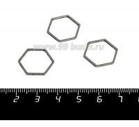 Коннектор нержавеющая сталь Соты 16*16*1 мм цвет стальной 1 штука 058952 - 99 бусин