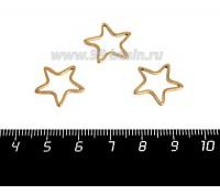Коннектор нержавеющая сталь оксид титана Звезда 16*16*1 мм цвет золото 1 штука 058959 - 99 бусин