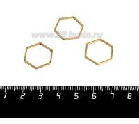 Коннектор нержавеющая сталь оксид титана Соты 16*16*1 мм цвет золото 1 штука 058960 - 99 бусин