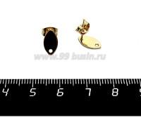 Пуссеты нержавеющая сталь, покрытие оксид титана Маленький Лепесток 10*5,5 мм, цвет золото, металл. заглушки 1 пара 058977 - 99 бусин