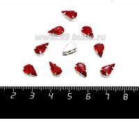 """Стразы АКРИЛОВЫЕ пришивные в цапах """"капелька"""" 11*6 мм, цвет красный, 10 штук/упаковка 058990 - 99 бусин"""