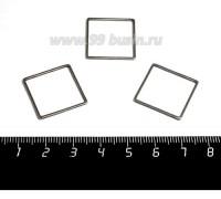 Коннектор нержавеющая сталь Квадрат большой 20*20*1 мм цвет стальной 1 штука 059005 - 99 бусин