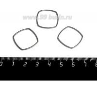 Коннектор нержавеющая сталь Криволинейный квадрат 20*20*1 мм цвет стальной 1 штука 059007 - 99 бусин
